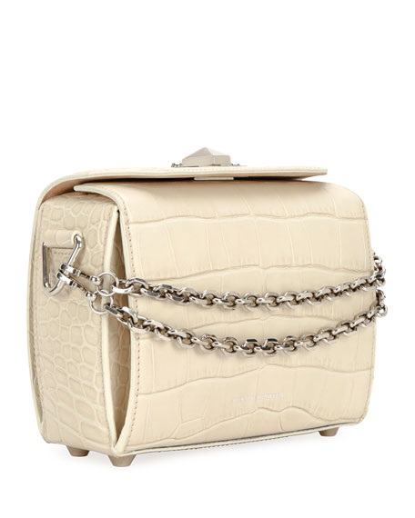 Nano Box Crocodile-Embossed Crossbody Bag