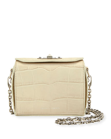 Nano Box Crocodile-Embossed Crossbody Bag, White