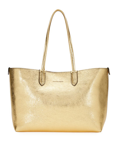 Medium Metallic Leather Shopper Tote Bag
