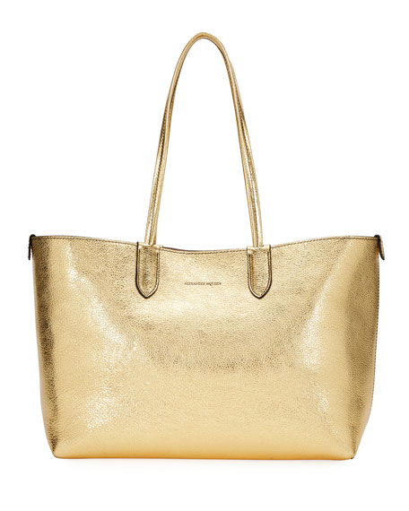 Alexander McQueen Medium Metallic Leather Shopper Tote Bag