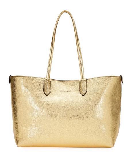 Medium Metallic Leather Shopper Tote Bag