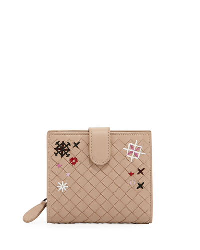 Embroidered Small French Woven Bi-Fold Wallet