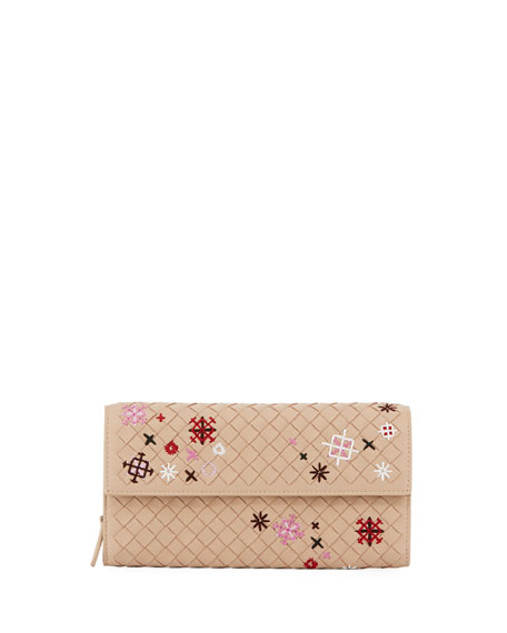 Embroidered Continental Zip Wallet