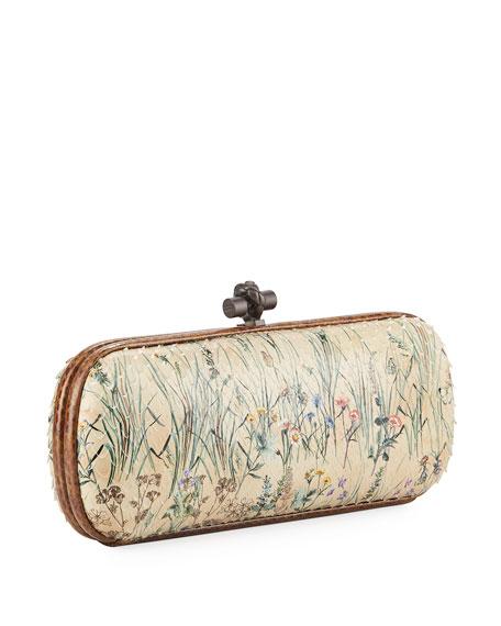 Botanical-Print Python Snakeskin Knot Clutch Bag