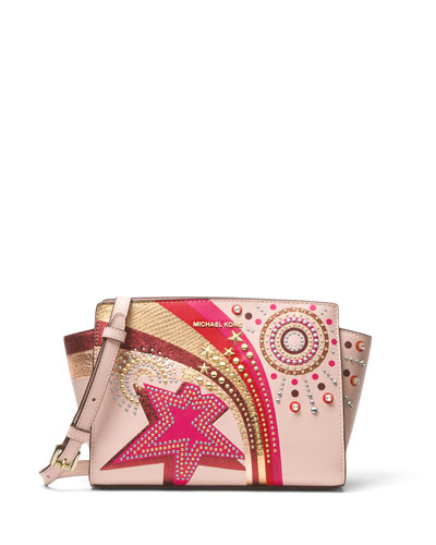 Selma Medium Messenger Crossbody Bag, Soft Pink