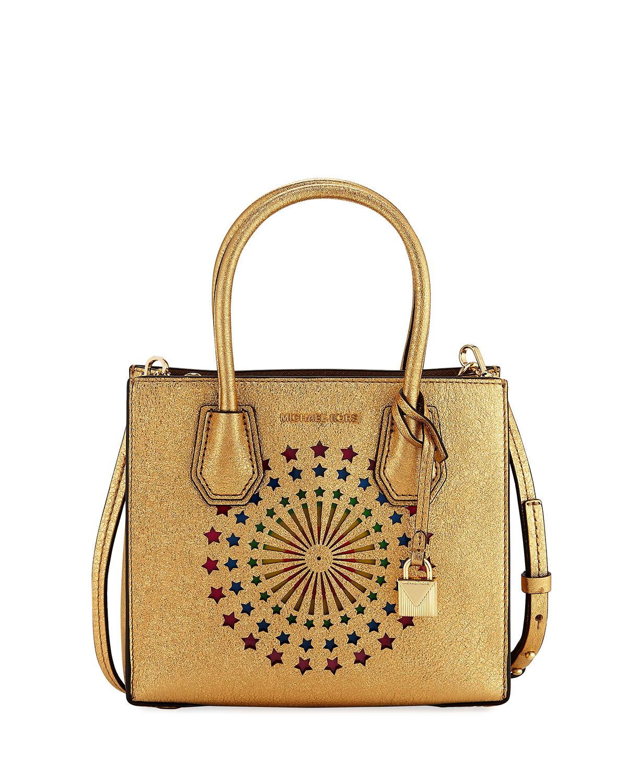 257d470ec71b MICHAEL Michael Kors Mercer Medium Star-Print Messenger Bag | Neiman ...