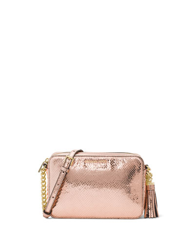 Ginny Medium Metallic Snake-Print Leather Camera Bag
