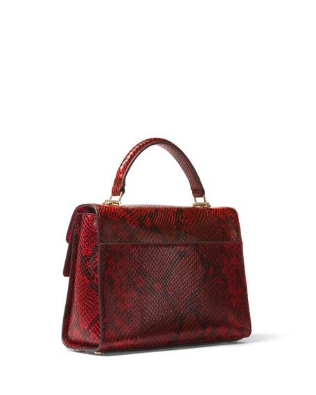 Sloan Small  Python-Embossed Satchel Bag