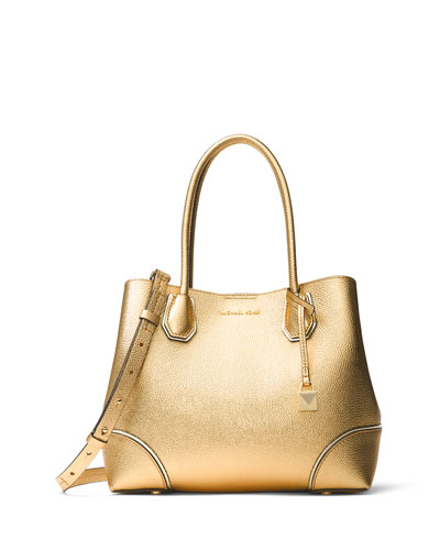 Annie Medium Metallic Leather Snap-Top Tote Bag