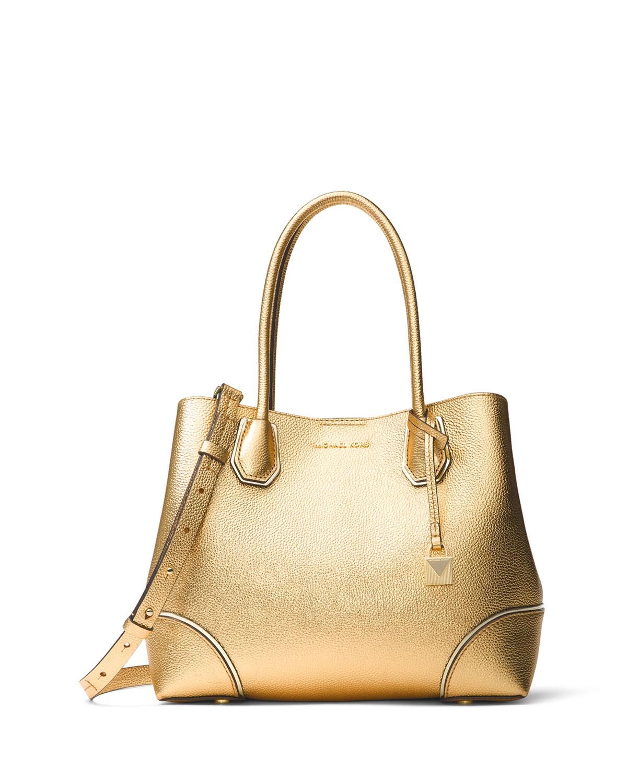 1ffe3968bdc5 MICHAEL Michael Kors Annie Medium Metallic Leather Snap-Top Tote Bag ...