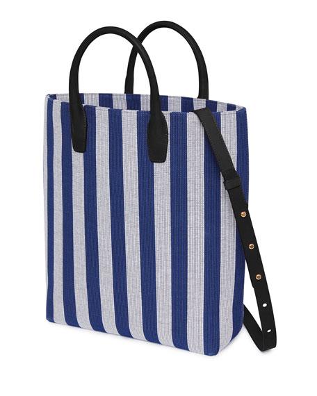 North South Striped Canvas Tote Bag