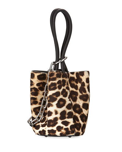 Roxy Mini Leather Calf Hair Bucket Bag, Animal Print