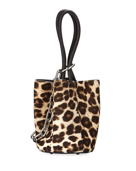 Roxy Mini Leather Calf Hair Bucket Bag, Animal Print by Alexander Wang