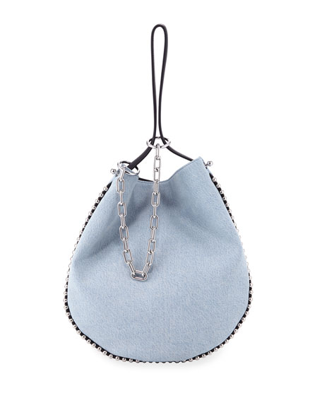 Alexander Wang Roxy Bleached Denim Hobo Bag