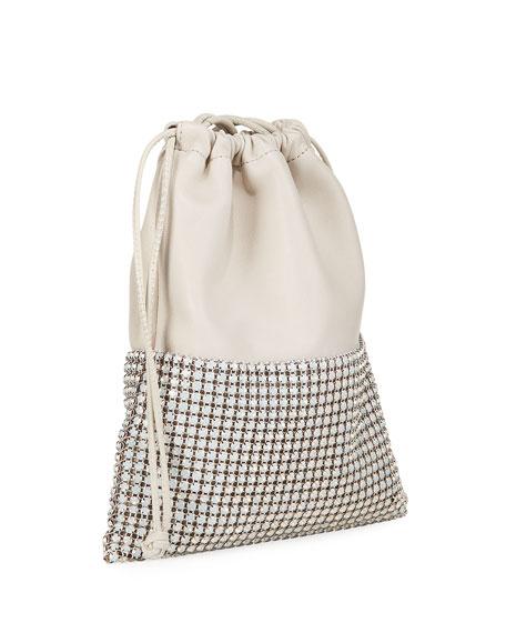 Ryan Crystal-Studded Drawstring Pouch Bag