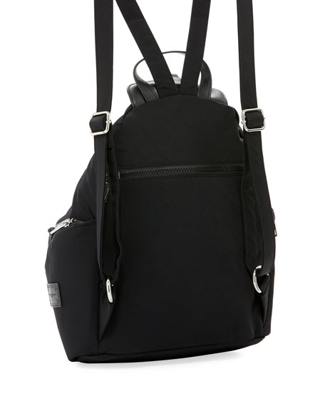 Washed Nylon Multi-Zip Backpack, Black