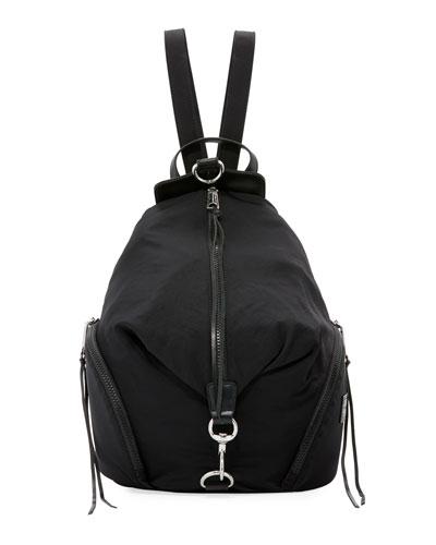Washed Nylon Multi-Zip Backpack, Black