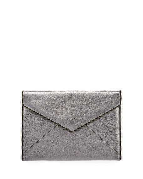 Rebecca Minkoff Leo Metallic Envelope Clutch Bag, Silver