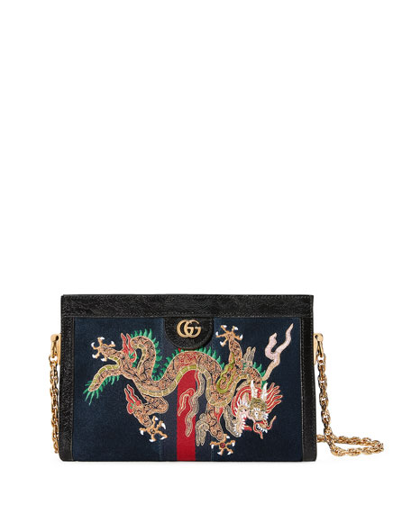 Linea Dragoni Embroidered Small Chain Shoulder Bag