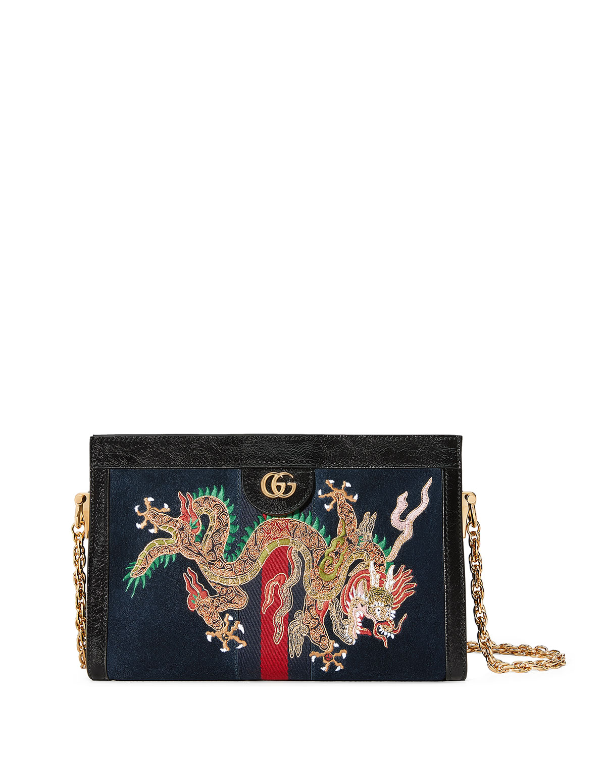 59386d7dc55 Gucci Linea Dragoni Embroidered Small Chain Shoulder Bag