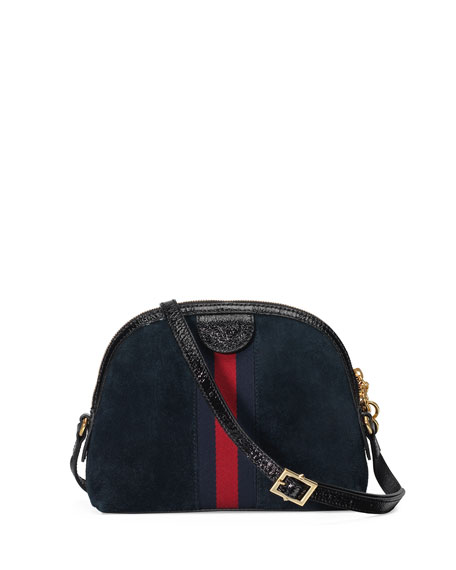 Linea Dragoni Small Embroidered Suede Shoulder Bag
