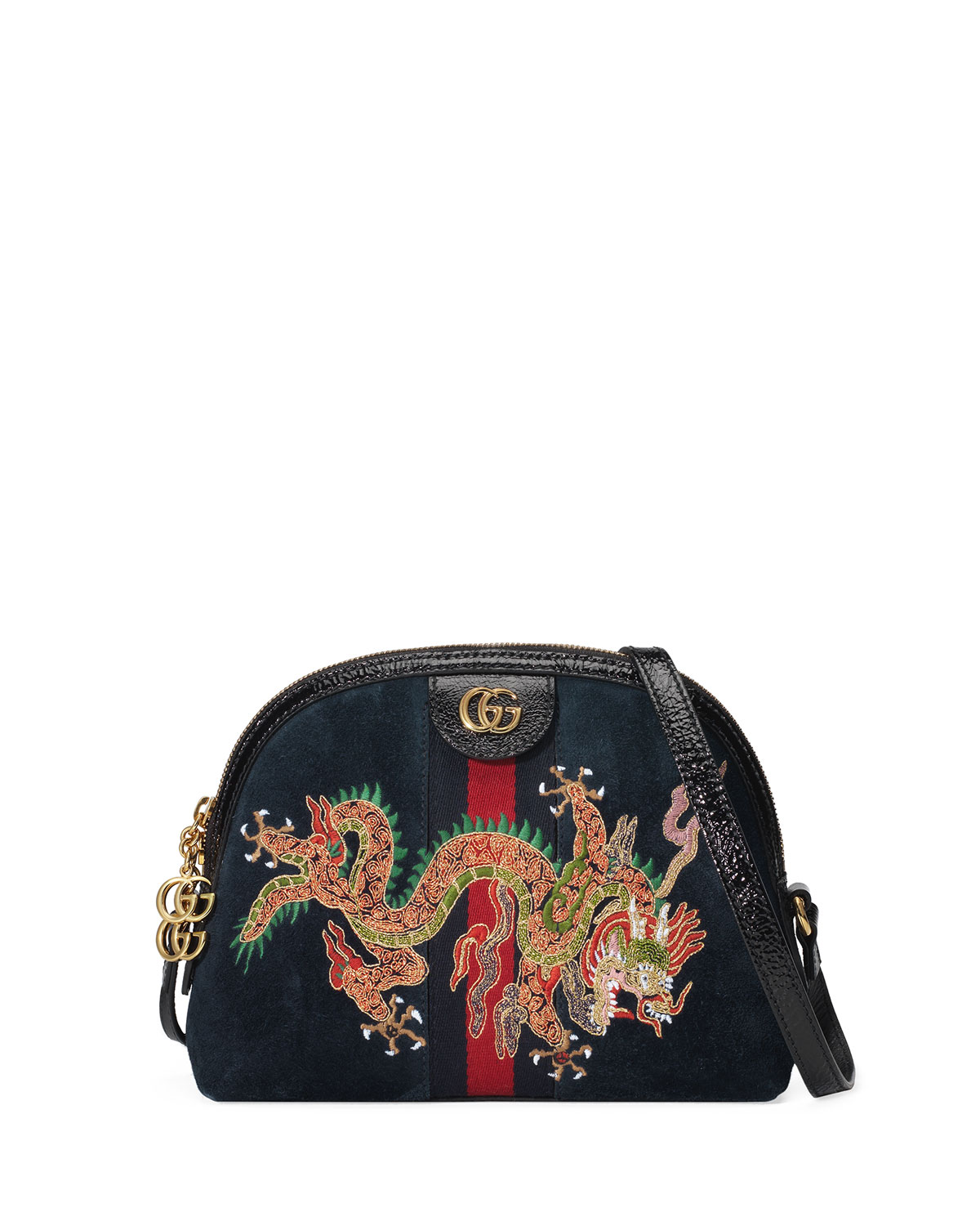 40037ae2300 Gucci Linea Dragoni Small Embroidered Suede Shoulder Bag