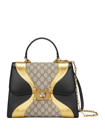 gucci bags for womens. iside medium gg supreme \u0026 leather top-handle bag gucci bags for womens