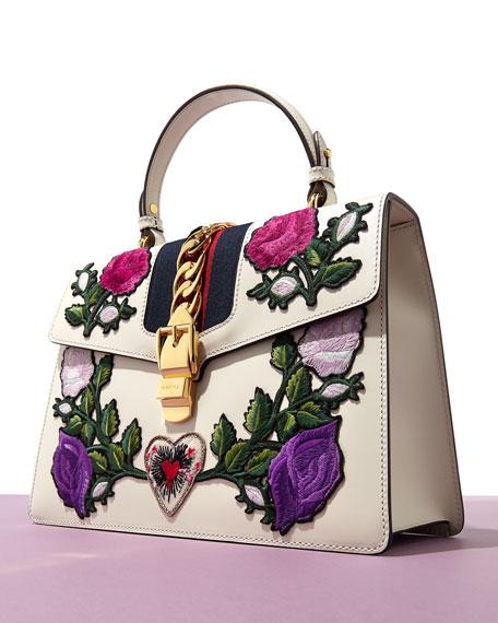 Sylvie Small Rose Floral Leather Shoulder Bag