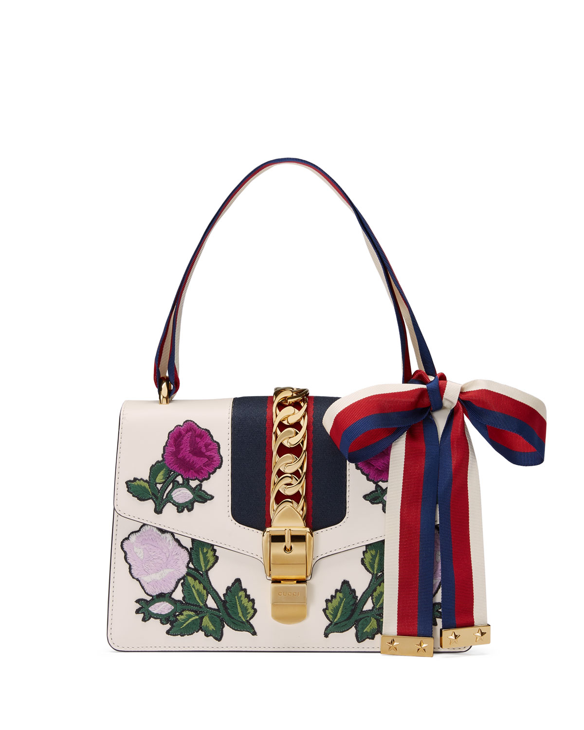 586162e23dd2 Gucci Sylvie Small Floral-Embroidered Shoulder Bag