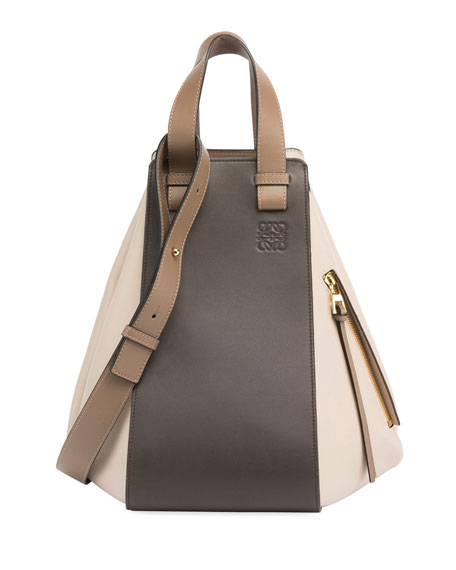 Medium Hammock Tricolor Leather Hobo - Brown, Taupe