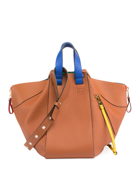 Hammock Colorblock Stars Satchel Bag, Tan