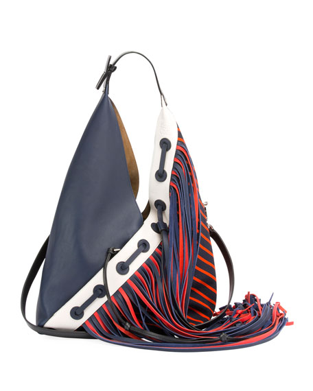 Loewe Sling Fringes Colorblock Hobo Bag, Blue/Red