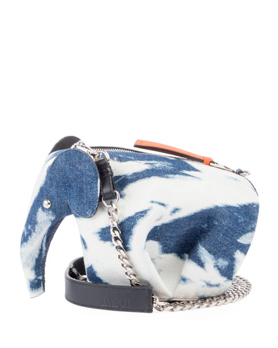 Tie-Dye Denim Elephant Mini Bag
