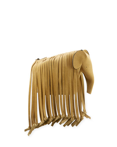 Gold Fringe Elephant Crossbody Bag
