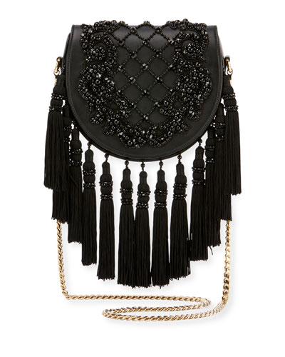 Leather Fringe Flap Shoulder Bag