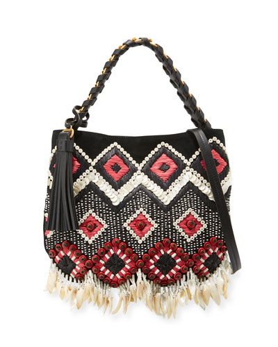 Brooke Small Embellished Hobo Bag