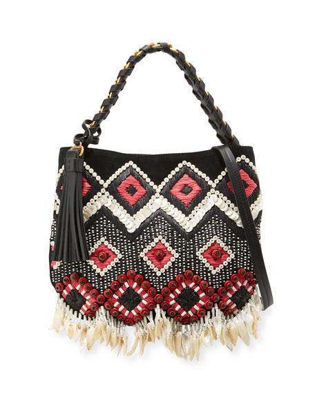 Tory Burch Brooke Small Embellished Hobo Bag