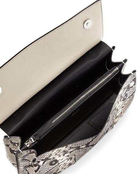 Block-T Embossed Satchel Bag, Snake