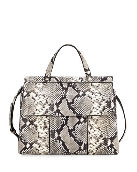 Tory Burch Block-T Embossed Satchel Bag, Snake