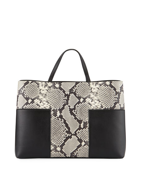 Tory Burch Block-T Embossed Triple Compartment Tote Bag,