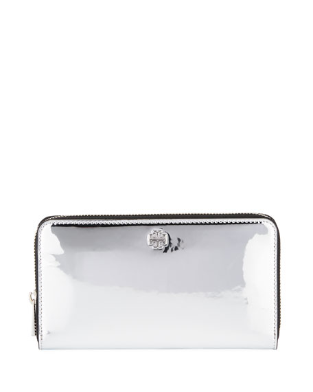 Tory Burch Robinson Mirror Metallic Zip Wallet