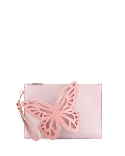 Flossy Butterfly Pouchette Bag, Antique Rose
