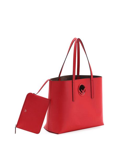 F Logo Calf Leather Shopping Tote Bag