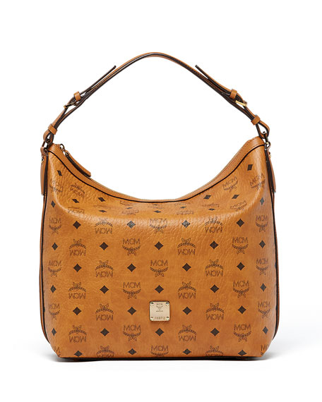 MCM Essential Visetos Original Hobo Bag, Cognac