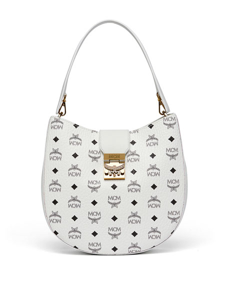 MCM Patricia Visetos Outline Hobo Bag, White