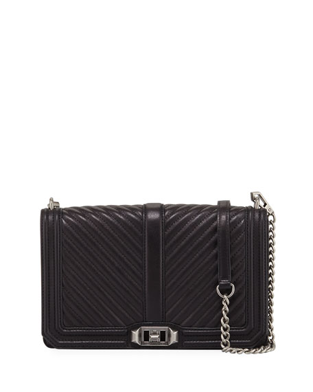 'CHEVRON QUILTED LOVE' CROSSBODY BAG - BLACK