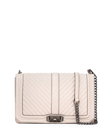 Chevron Quilted Slim Love Crossbody Bag