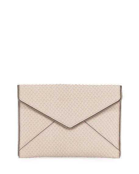 Rebecca Minkoff Leo Snake-Embossed Clutch Bag