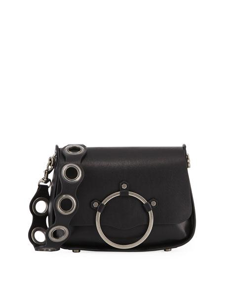 Ring Smooth Leather Shoulder Bag, Black