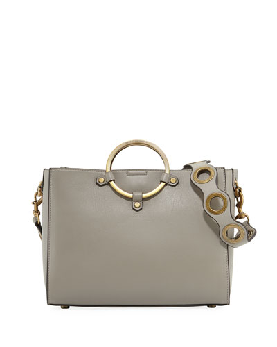 Ring Leather Satchel Bag, Taupe